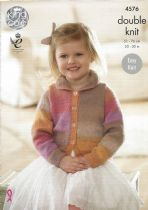 King Cole Sprite DK - 4576 Girl's Cardigans Knitting Pattern
